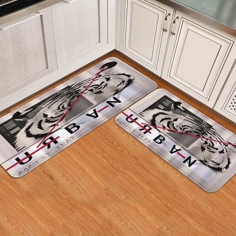 Minneapolis Mall COVASA Kitchen Mats for outlet Floor 2 Piece Animal Doo Gray Head Tiger