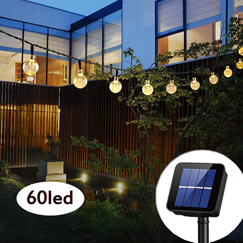 Solar String Lights Globe 33 Feet 60 Crystal Balls Waterproof LED Fairy Lights 8 Modes Outdoor Starry Lights Solar Powered String Light For Garden Yard Home Party Wedding Decoration Warm White