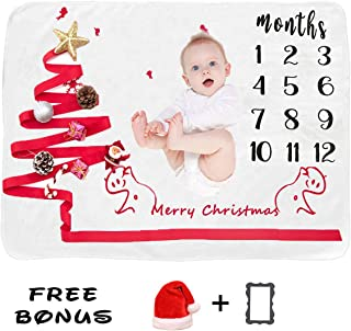 Baby Monthly Milestone Blanket for Baby Boy and Girl 1 to 12 Months Wrinkle-Free Christmas Tree Photography Background Prop for Newborn, 100% Organic Fleece Extra Soft Baby Shower Blanket