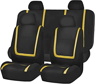 FH Group FB032YELLOW114 Yellow Unique Flat Cloth Car Seat Cover (w. 4 Detachable Headrests and Solid Bench)