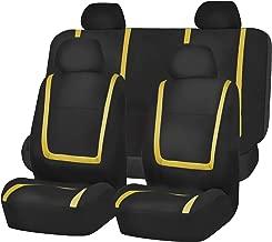 FH-FB032114 Unique Flat Cloth Full Set Car Seat Covers, Yellow/Black Color- Fit Most Car, Truck, SUV, or Van