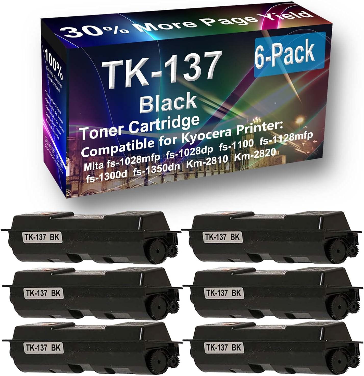 6-Pack Compatible High Yield Km-2810, Km-2820 Printer Cartridge Replacement for Kyocera Mita TK137 (TK-137) Toner Cartridge (Black)