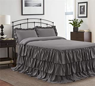 HIG 3 Piece Ruffle Skirt Bedspread Set Queen-Gray Color 30 inches Drop Ruffled Style Bed Skirt Coverlets Bedspreads Dust Ruffles- Echo Bedding Collections Queen Size-1 Bedspread, 2 Standard Shams