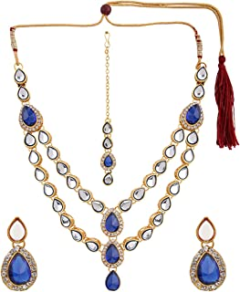 Indian Layered Traditional Bollywood 14 k Gold Plated Red Green Faux Kundan Bridal Necklace Earrings Maangtika Wedding Jewelry Set