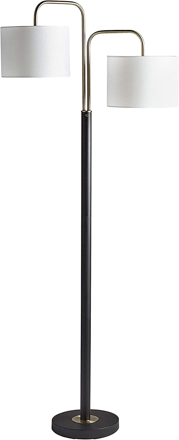 Rivet Modern Floor Lamp, 62.5 H, With Bulb, Black & Antique Brass with Linen Shade