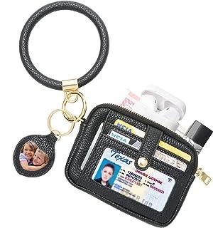 SNUG STAR Portable Round Bangle Keychain,Credit Card Holder Pocket Bracelet Key Ring Coin Purse Wristlet Keyrings