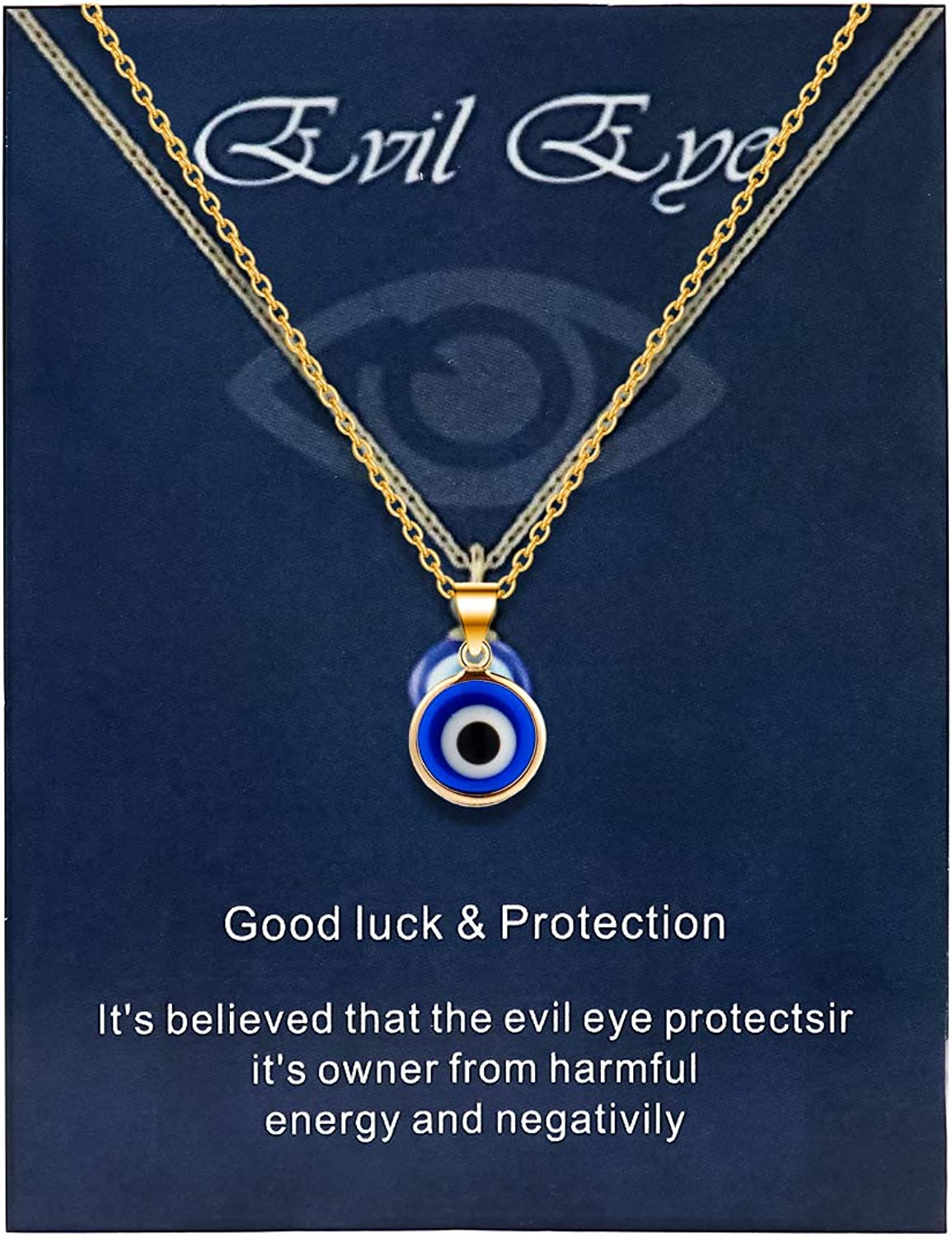 Dainty Blue Turkish Evil Eye Pendant Necklace Lucky Amulet Kabbalah Protection Adjustable Chain with Wish Card for Women Girls