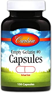 Carlson - Empty Gelatin #0 Capsules, Easy to Separate & Fill, 150 capsules