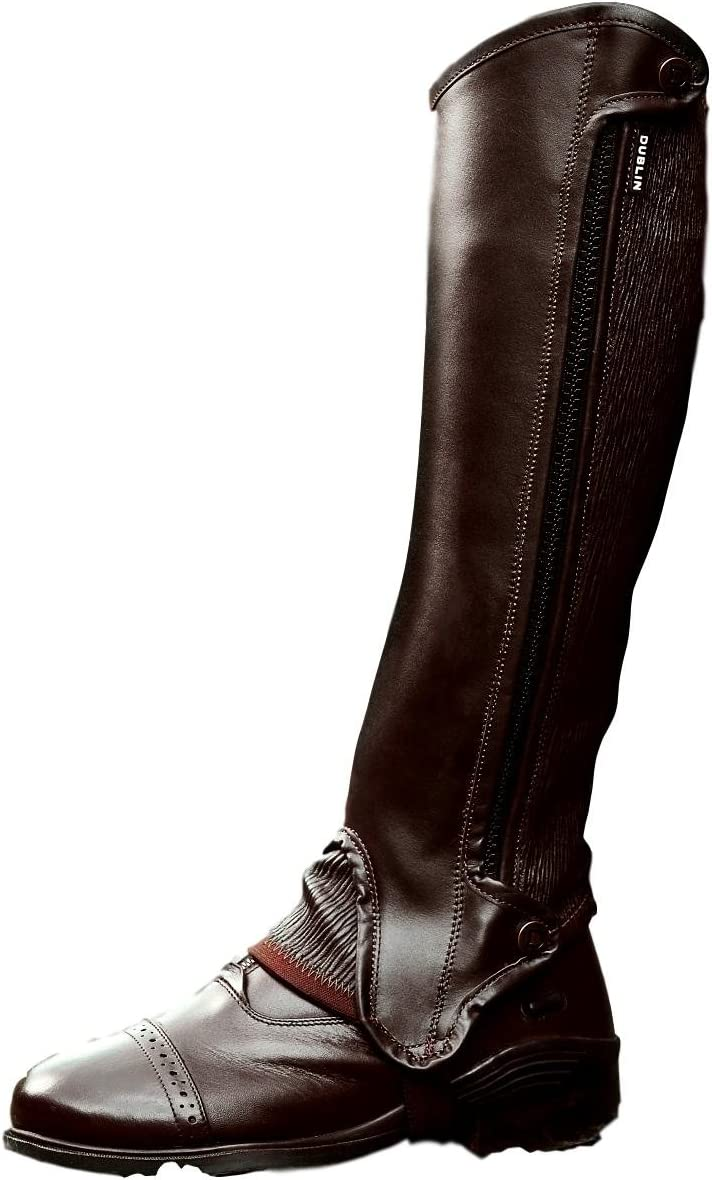 Dublin Evolution Side Zip Half Chaps (Brown, Extra Small Tall)