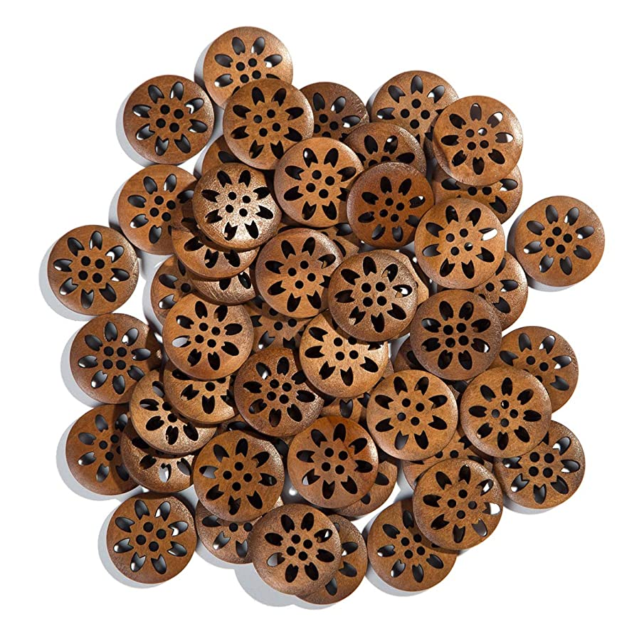 Mahaohao Craft Pierced Flower Wood Buttons Sewing Snowflake Carved 4 Holes Brown 25mm (50 Pack)