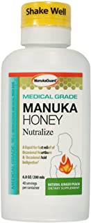 ManukaGuard Medical Grade Manuka Honey Nutralize, Heartburn and Acid Indigestion Relief, Ginger Peach, 6.8 Ounces