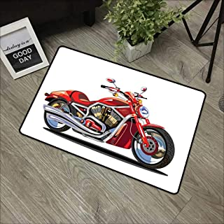Corridor door mat W16 x L24 INCH Motorcycle,Super Sexy Motorbike with Vivid Color Properties Winged Engine Machine Freedom,Red Silver Natural dye printing to protect your baby's skin Non-slip Door Mat