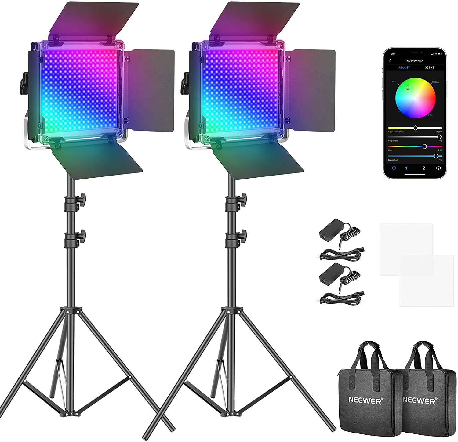 Neewer RGB Led Video Light Color Control with APP quality assurance Selling 360°Full