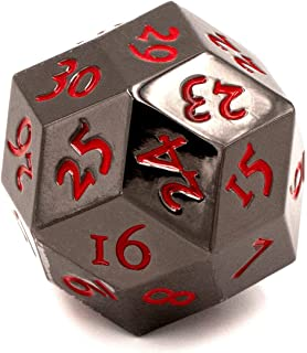 KakapopoTCG Solid Metal Black D30 Dice 30 Faced Dice Extra Large 30mm Extra Heavy Life Counter D20 for use with MTG Magic The Gathering EDH Commander spindown Countdown Points Recorder