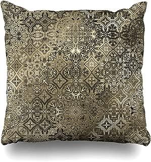 Ahawoso Throw Pillow Cover Mosaic Floral Ornamental Vintage Pattern Monochrome Abstract Geometric Folk Tattoo Design Tile Decorative Pillow Case 20x20 Inches Square Home Decor Pillowcase