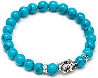 Jewelry Mens Vintage Buddha Beaded Stretch Bracelet - 8mm Turquoise Semi-Precious