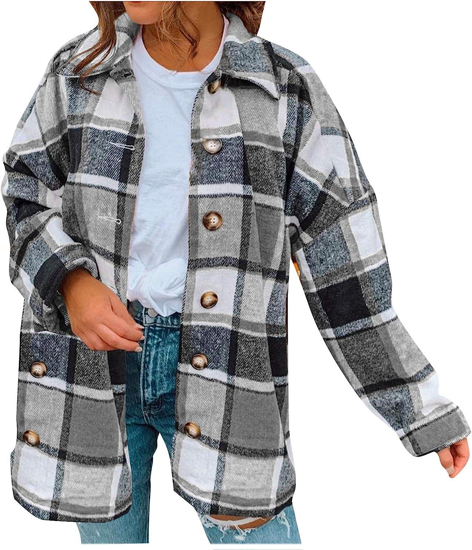KEEADI Women's Coat Casual Lattice Lapel Button Coats Long Sleeve Loose Overcoat Coat