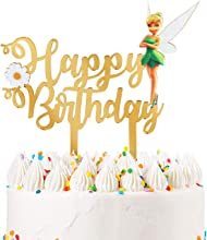 Gold Acrylic Tinker Bell Happy Birthday Cake Topper, Fairy Theme Birthday Party Decoration Suppliers, Thinker Bell Cake Decor