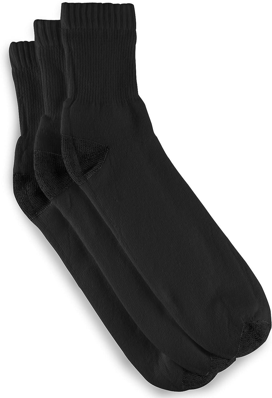 Harbor Bay by DXL Big and Tall Continuous Comfort 3-pk Quarter Crew Socks, Black, 13-16