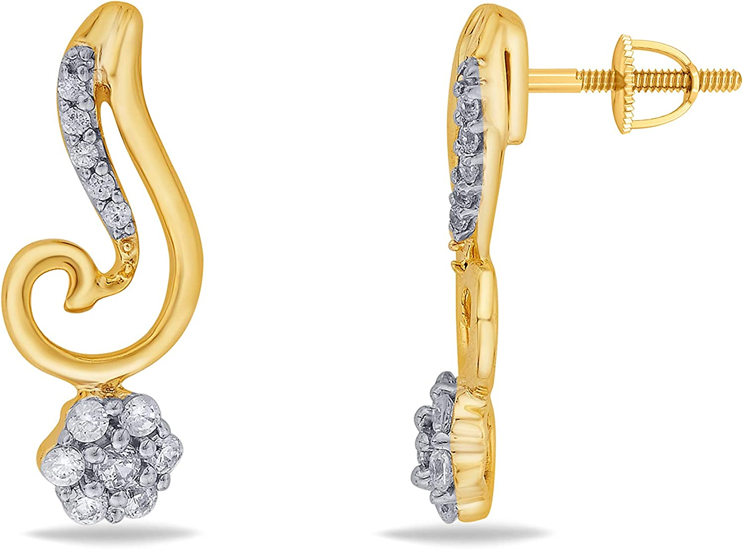3djewels Women's 0.6 Cts Round Simulated Diamond Fairy Earring In 14K Yellow gold Plated