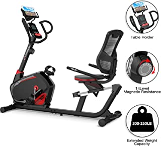 Recumbent Exercise Bike Stationary with 14 Level Magnetic Resistance, Tablet Holder, RPM, Wide Seat, and Pulse Rate Monitoring…