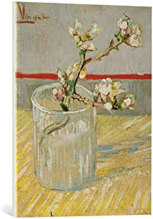 kunst für alle Canvas Print: Vincent Van Gogh Branch of an Almond Tree in Blossom in a Glass Fine Art Print, Canvas on Stretcher, Ready to Hang Wall Picture, 21.7x27.6 inch / 55x70 cm
