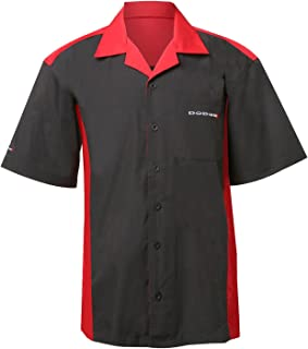David Carey Dodge Pit Shirt – Black & Red – Button Up Collared Short Sleeve Mechanic Work Camp Shirt with Embroidered Logo