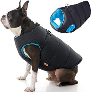 Gooby - Padded Vest Solid, Dog Jacket Coat Sweater with Zipper Closure and Leash Ring, Solid Black, Small