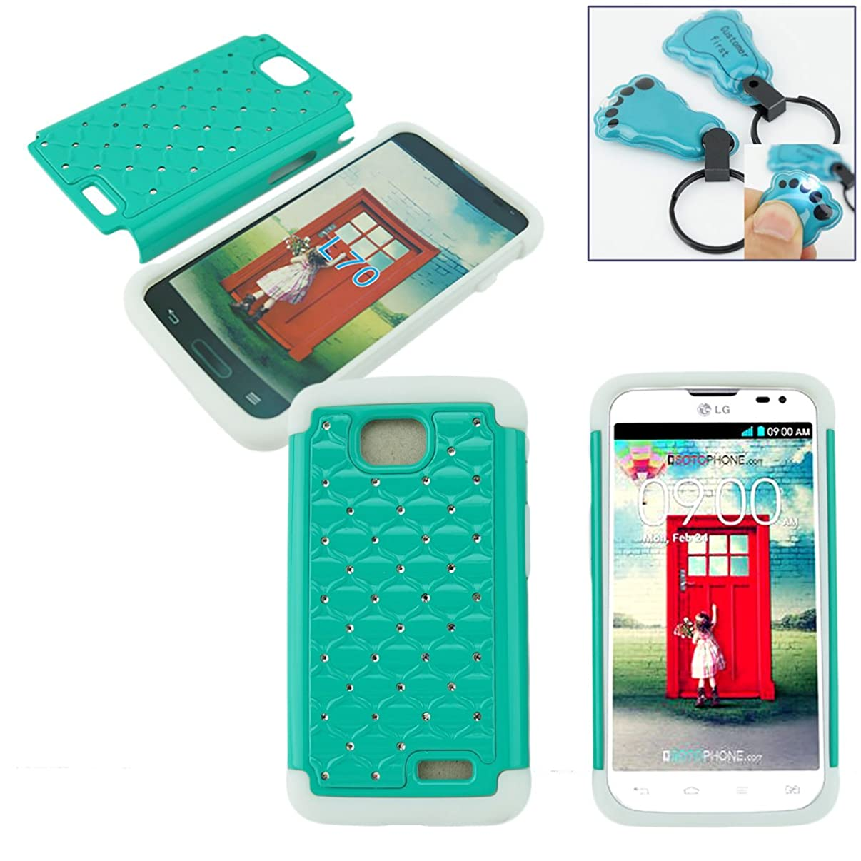 Customerfirst - Stud Diamond Studded Silicone Rubber Skin Hard Bling Case For LG ULTIMATE 2 L41C / LG REALM / LG OPTIMUS L70 - Free Flash Light Key Chain (D TEAL WHITE)