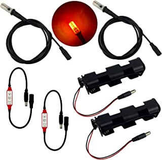 2 kits fire effects ember orange flame simulation LED lights 1.5 meter 59 inch cable length with flicker effects control for props, theatrical scenery, faux flame, and glowing coal baskets