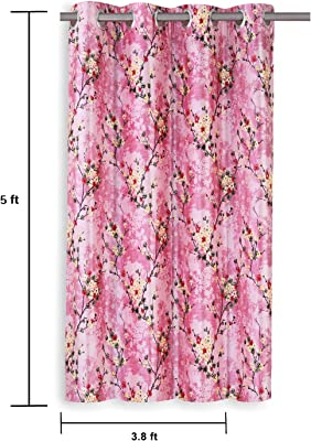 Amazon Brand - Solimo Fiore Polyester Curtain, Window, 5 feet (1.52 m), Pink, Pack of 2