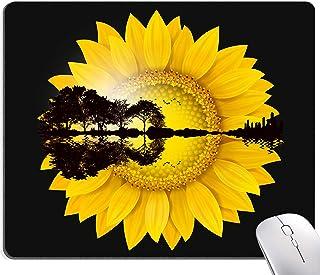 Sunflower Guitar City Mouse Pad, Black Background Mouse Mat, Square Waterproof MousePadNon-SlipRubberBaseMousePadsfo...