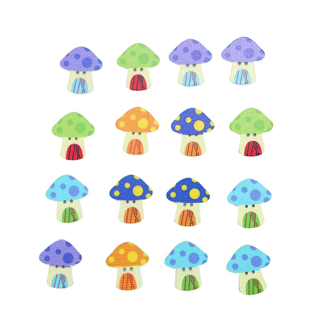 Monrocco 100 pcs Cute Mushroom House Buttons with 2 Hole Cartoon Pattern Decorative Scrapbook Buttons