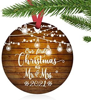"""Best ZUNON First Christmas Ornaments 2021 Our First Christmas as Mr & Mrs Couple Married Wedding Decoration 3"""" Ornament (Lights Mr & Mrs) Review"""