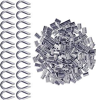 Manchons en Aluminium Clips 200 pièces pour Câbles Métalliques Diamètres 2mm Cosse Rigging Aluminium Double Viroles Pinces...