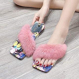 ECSWP MSGWNHLPSB Femmes Chaussures Mode Décontracté Intérieur Chaud À Bout Ouvert Pantoufles sans Lacet Doux Maison Pantou...