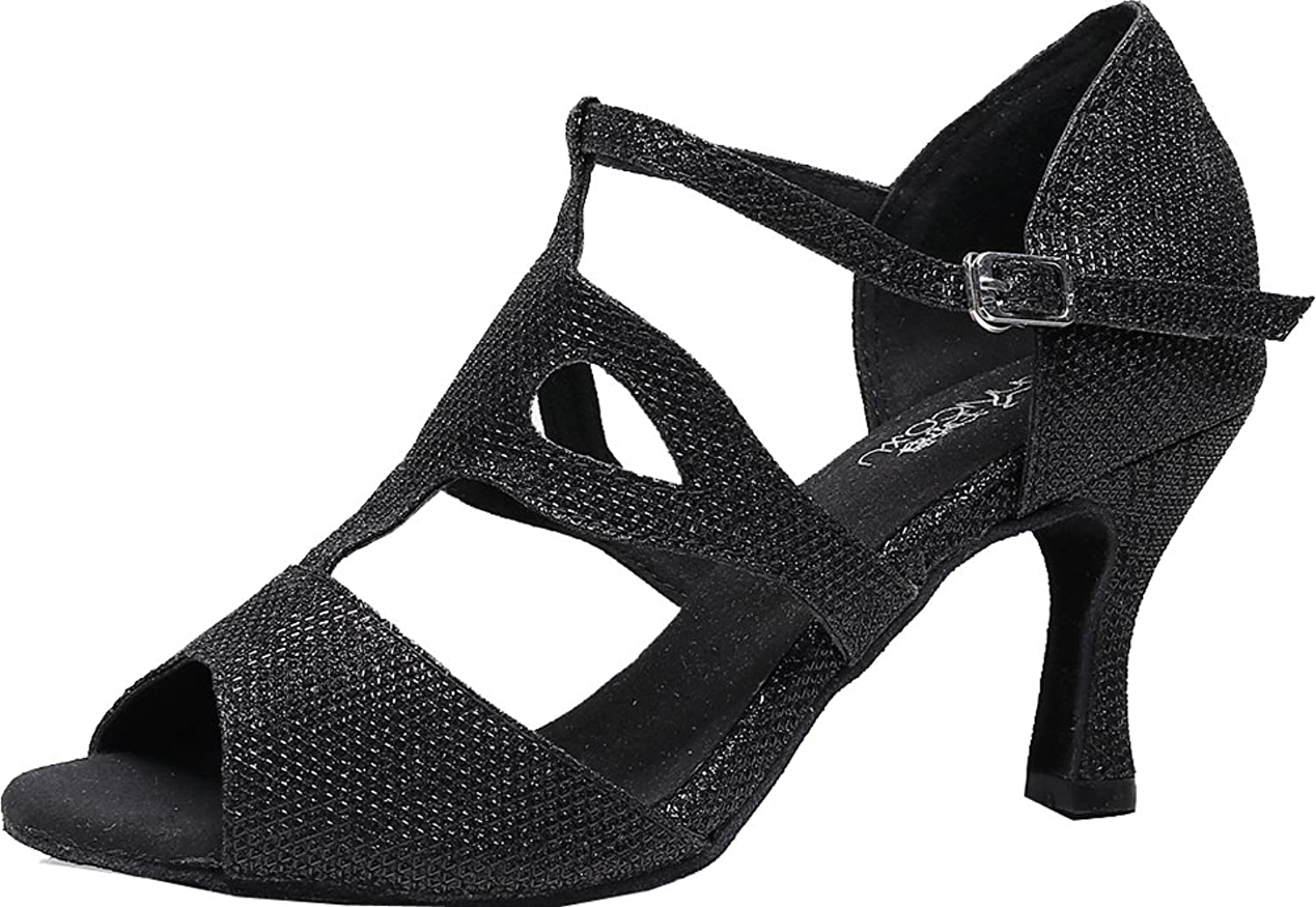 ABBY Products Women T-bar Latin Social Salsa Dance shoes Ballroom Peep Toe PU 7135