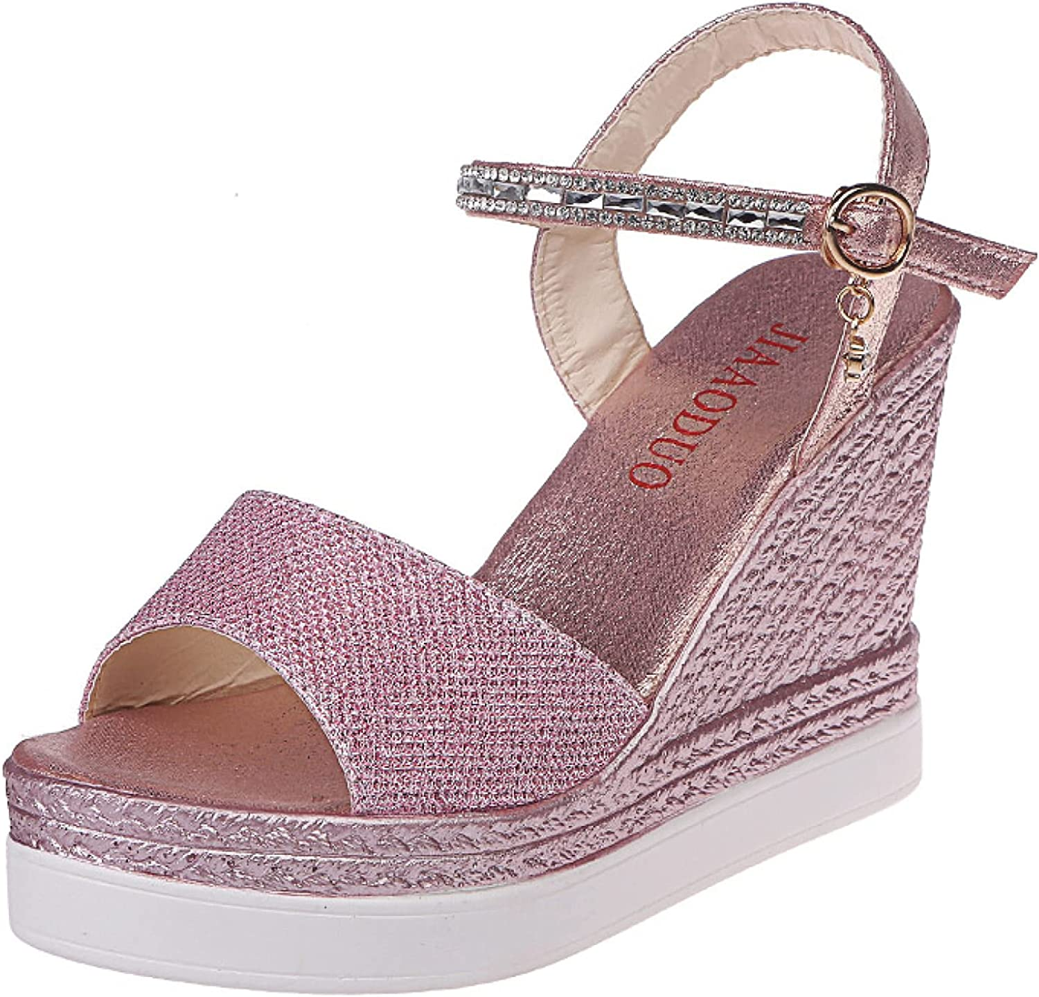 Women's Wedges Heel 2021new shipping free Sandals Party Popular shop is the lowest price challenge Strap Fine Co Rhinestone Flash
