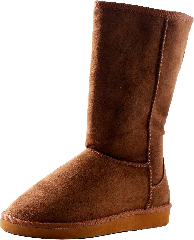 Soda Women's Soong Comfort Faux Suede Fur Mid- Calf Flat Boot