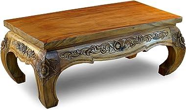 Kinaree Opium Pathumwan Table basse 43 x 105 x 55 cm Table de salon asiatique massive Convient également comme table à chicha