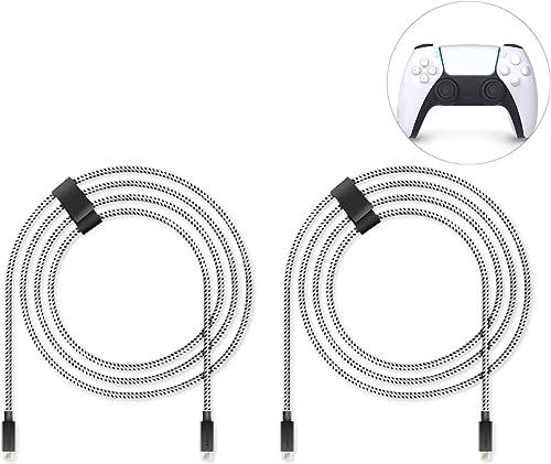 Lioncast 2x PS5 4m câble de charge rapide pour Sony PlayStation 5 | Câble de la manette Ps5 pour manette Dualsense | ...
