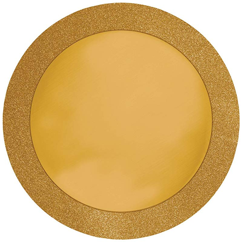 8 Count Glitz Round Placemats With Glitter Border Gold