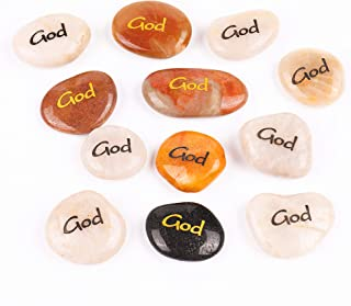 RockImpact 12PCS God Engraved Inspirational Stones, Pocket Word Stone River Rock, Zen Chakra Healing Palm Stone, Positive ...