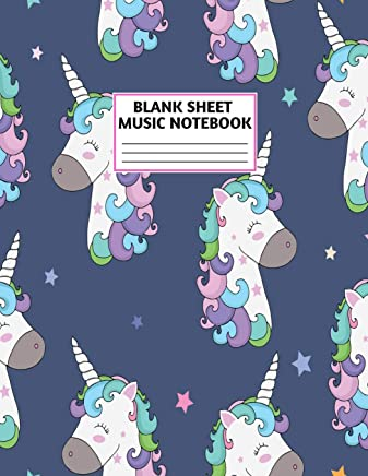 Blank Sheet Music Notebook: Cute Unicorn Matte Cover Design with 110 Pages White Paper Interior for Musician Students and Professionals Playing Piano, ... Musical Instruments Staves (8.5x11 Large)