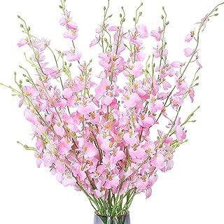 FENGRUIL 10 Pcs Artificial Orchids Flowers, 37'' Long Stem Silk Flowers Arrangements Bouquet for Desktop Floor Centerpiece Home Party Bridal Wedding Decoration (Pink)