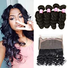 Mink Hair Loose Wave with 360 Frontal 8A Grade Brazilian Loose Wave Bundles Virgin Human Hair Extensions with 360 Free Part Lace Frontal Closure Natural Color (20 20 20+18)