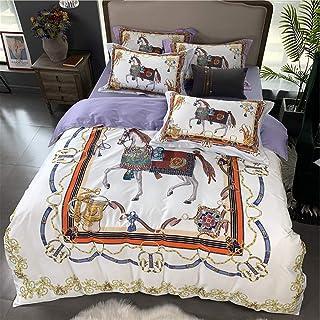 Duvet Cover Set King Size Pink, Duvet Cover Set Bedding Set Double 4 Pieces 100% Egyptian Cotton, Duvet Covers Set Include Quilt Cover 220×240CM +1 Flat Sheet 245×270 CM+2 Pillowcases