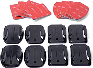 Helmet Accessories Kit Set 4X Flat 4X Curved Surface Mounts + 3M Adhesive for GoPro Hero 3 4 5 6 7Black 8 Cam SJCAM/Apeman...