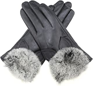 Fly® Ms. Sheepskin Touch Screen Gloves, Suede Lining (Color : Black, Size : M)
