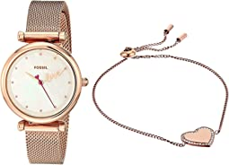 ES4867SET Rose Gold Stainless Steel Mesh and Bracelet Set